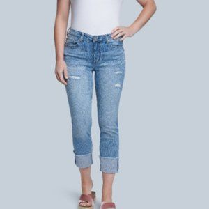 Seven7 Distressed Mid Rise Slim Straight Jeans